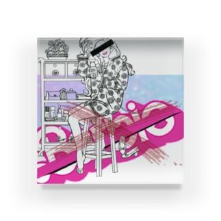 ピンクゆめかわいいパロディ Acrylic Block