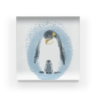 皇帝ペンギンの親子 Acrylic Block