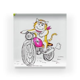 ほのぼの猫  ねこ と バイク Acrylic Block