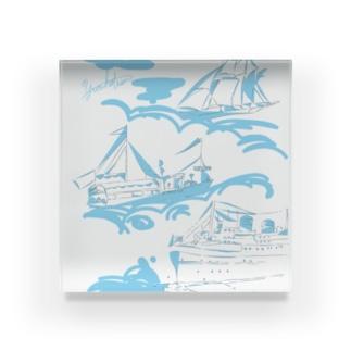 【yuruholism original】cruise ship クルーズ 帆船 船 蒸気船 水色 Acrylic Block