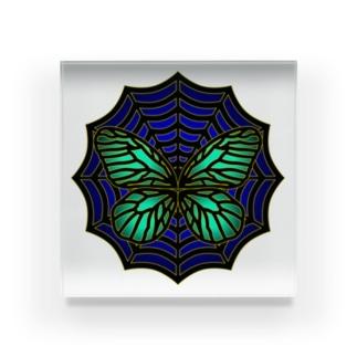 蜘蛛の巣の蝶 Acrylic Block