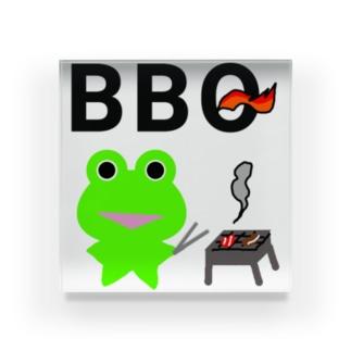 BBQを楽しむカエルくん Acrylic Block