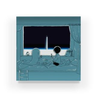 坂月さかなの寝台列車と塔 Acrylic Block