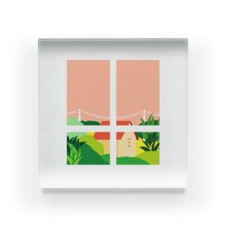 家の窓から見える景色 Acrylic Block