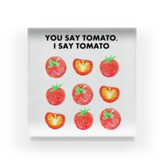 トマトデザイン「埒が明かない」 Acrylic Block