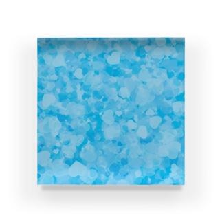 ブルーのハートいっぱい Acrylic Block