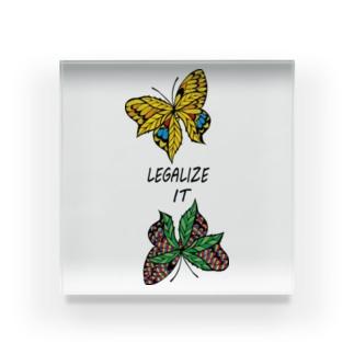 AKRstyle - butterfly × marijuana Acrylic Block