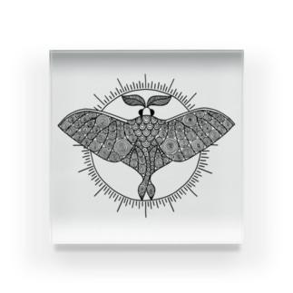 オオミズアオ 線画(黒ver) Acrylic Block