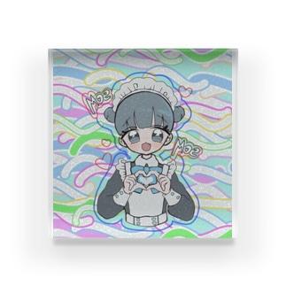 お団子青メイドちゃん(カラフル) Acrylic Block