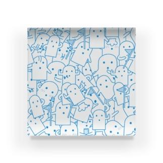 白いハニワ【うじゃうじゃ(青)】 Acrylic Block