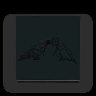 Lily bird(о´∀`о)のセキセイインコと文鳥とクローバー モノクロ① Acrylic Block