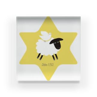 羊の上にとどまる鳩 Acrylic Block