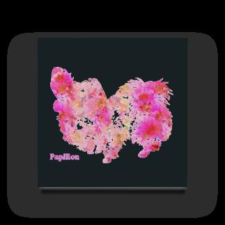 Mofrismの花柄パピヨン Acrylic Block