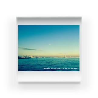 Mer et ciel bleu (白抜き文字) Acrylic Block