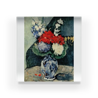 ポール・セザンヌ / 1874 /Still life, Delft vase with flowers / Paul Cezanne Acrylic Block