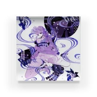 和柄 青の金魚姫3 藤紫 キモノガール Acrylic Block