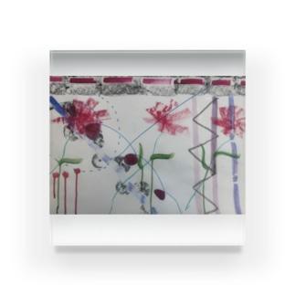 お絵かきお花 Acrylic Block