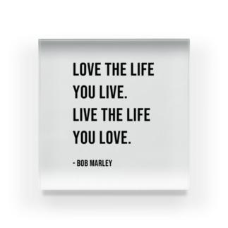 Hello BoB Marley `LOVE LIFE!!` Acrylic Block