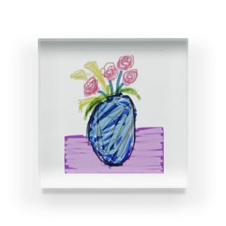 ピンクのバラ Acrylic Block