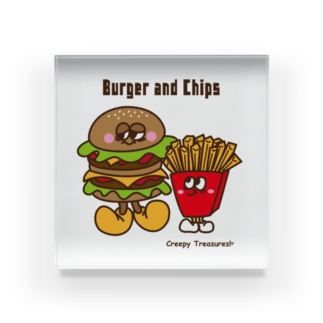 Creepy Treasures!のBurger and Chips Acrylic Block