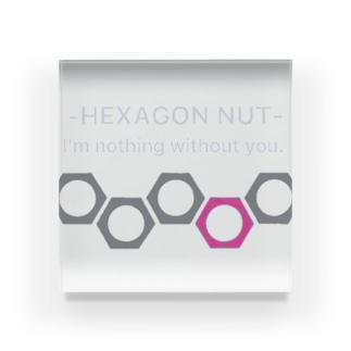 Naughty clown .のhexagon nut 〜想いを寄せて〜 Acrylic Block