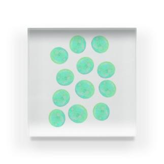 水草のグリーン玉いっぱい Acrylic Block