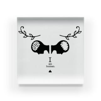 I am human. Goat ver ♡『このアイテムについて』のメッセージをチェック Acrylic Block
