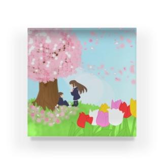 想い桜の下で Acrylic Block