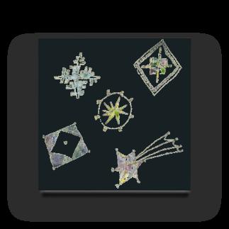 砂まみれの宵の空に輝く星のブローチ Acrylic Block