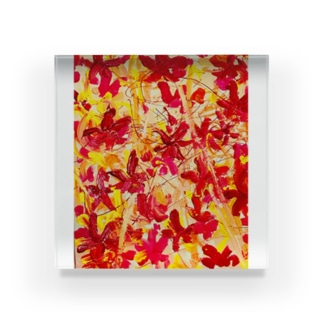 グラデーションが綺麗な秋の紅葉🍁オータムリーブス🎶 Acrylic Block