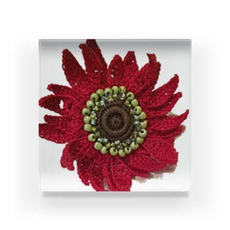 赤色のガーバラ Acrylic Block