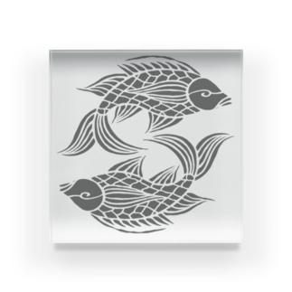 沖縄の風♪ 壷屋焼風双魚文(濃) Acrylic Block