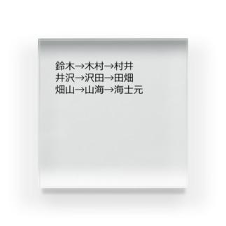 mkoijnの漢字しりとり(苗字編) Acrylic Block