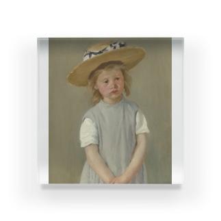 メアリー・カサット作「麦わら帽子をかぶった少女」 Acrylic Block