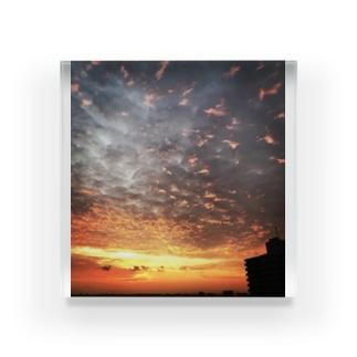 サンライズ、サンセット、朝焼け、夕焼け Acrylic Block