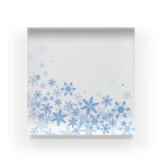 ふわふわ雪の結晶 Acrylic Block