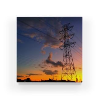 ちょりすけのナントカの夕焼け空と鉄塔 Acrylic Block