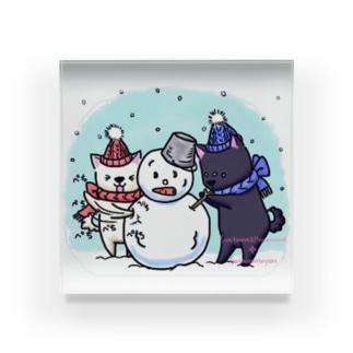 そらいろもようの雪だるま! Acrylic Block
