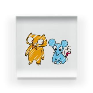 ぶたねずみの仲良しこよし( ᵕᴗᵕ )✩⡱ Acrylic Block