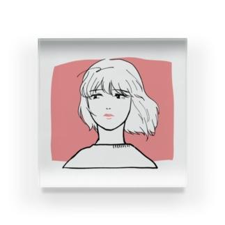 風をうけるアンニュイガール Acrylic Block