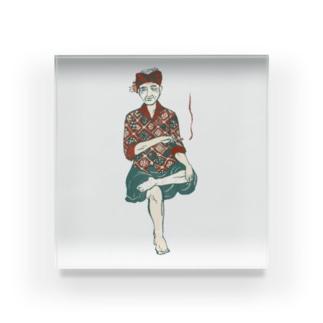 【バリの人々】おじいちゃん Acrylic Block