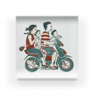 【バリの人々】バイク家族乗り Acrylic Block