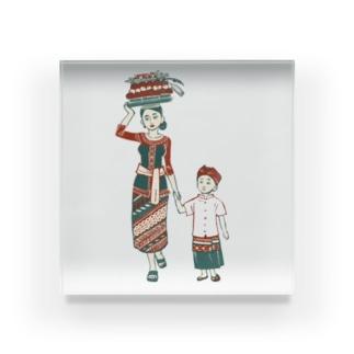 【バリの人々】お母さんと子供 Acrylic Block