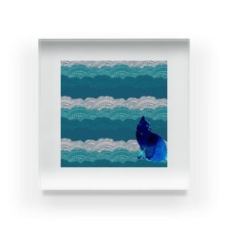 猫と波 Acrylic Block