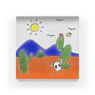 クマバチゴルフ倶楽部のクマバチとメキシカンタイル Acrylic Block