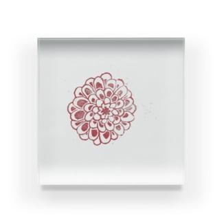 赤いダリア Acrylic Block