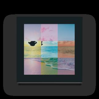 MARCHの浜辺のコラージュ Acrylic Block