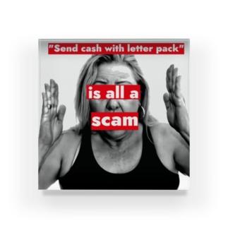 「レターパックで現金送れ」は詐欺です Acrylic Block