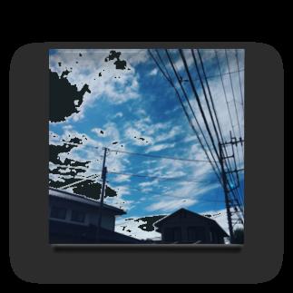 湘南の風景  Seaside landscape at Shonan area in japanの電線のある風景 Acrylic Block