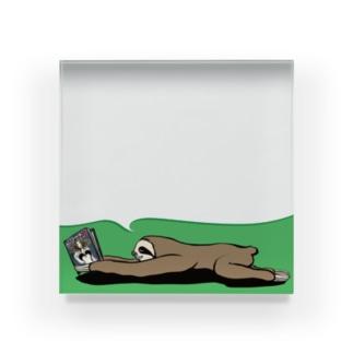 Pooompadooourのお仕事用ペーパーウェイト:ふせんを貼って(文字なし) Acrylic Block